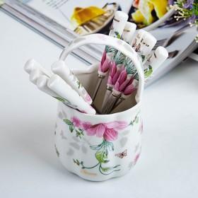 플로렌스 꽃수반 + 도자기라인(대) 티스푼(티포크) 10P